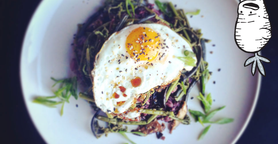 Sauted fiddlehead ferns, purple rice, fried egg