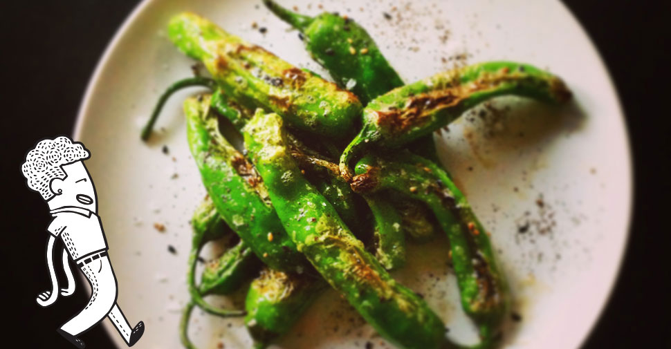 Shishito peppers blistered and tossed with Épices de Cru black pepper